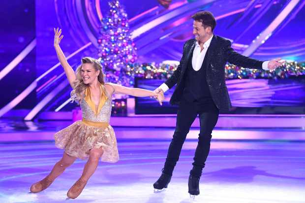 BOVINGDON, ENGLAND - DECEMBER 09: Joe Swash and Alexandra Schauman during the Dancing On Ice 2019 photocall at the Dancing On Ice Studio, ITV Studios, Old Bovingdon Airfield on December 09, 2019 in Bovingdon, England. (Photo by Karwai Tang/WireImage)