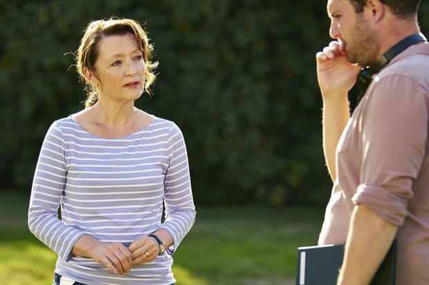 Stefan Golaszewski with Lesley Manville on set of Mum