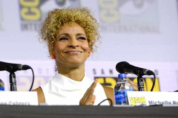"""SAN DIEGO, CALIFORNIA - JULY 20: Michelle Hurd speaks at the """"Enter The Star Trek Universe"""" Panel during 2019 Comic-Con International at San Diego Convention Center on July 20, 2019 in San Diego, California. (Photo by Albert L. Ortega/Getty Images)"""