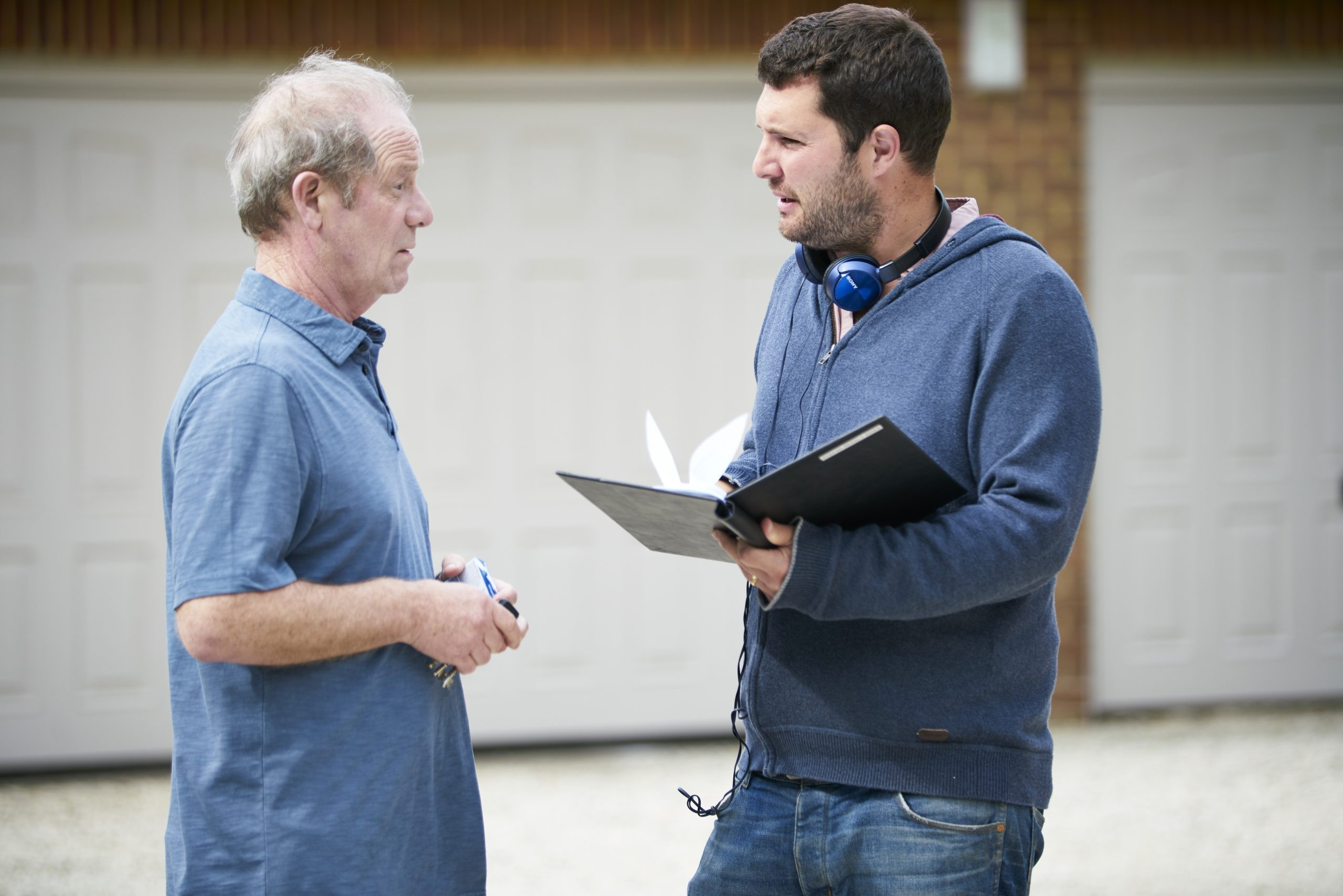 Stefan Golaszewski with Peter Mullan on set of Mum