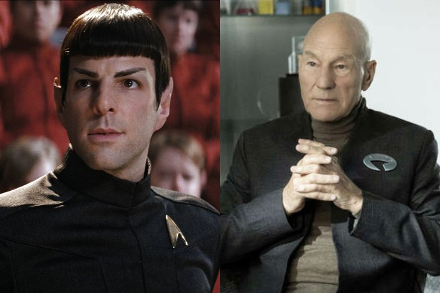 Zachary Quinto as Spock in Star Trek (2009) and Patrick Stewart as Picard in Picard (Paramount, Amazon)