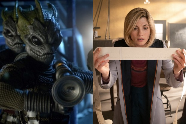 A Silurian in Doctor Who and Jodie Whittaker's Doctor (BBC)