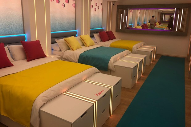 In the bedroom of the Love Island villa