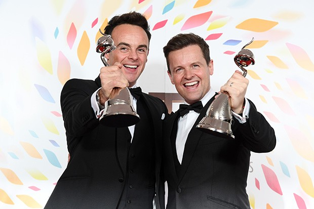 LONDON, ENGLAND - JANUARY 28: Anthony McPartlin and Declan Donnelly pose in the winners room after winning the best TV Presenters during the National Television Awards 2020 at The O2 Arena on January 28, 2020 in London, England. (Photo by Gareth Cattermole/Getty Images)