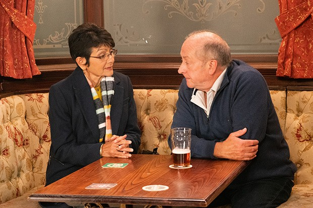 FROM ITV  STRICT EMBARGO - No Use Before  Tuesday 29th October 2019  Coronation Street - 9921  Friday 8th November 2019 - 2nd Ep  Geoff Metcalfe [IAN BARTHOLOMEW] continues to sap Yasmeen Nazir's [SHELLEY KING] confidence, convincing her that she has a shocking memory and clearly doesn't listen to a word he says. Geoff lies to Yasmeen making out that he was planning to take her on a romantic break to Vegas but it's clear she doesn't trust him so he's not going to bother. Yasmeen feels terrible.  Picture contact - David.crook@itv.com  Photographer - Danielle Baguley  This photograph is (C) ITV Plc and can only be reproduced for editorial purposes directly in connection with the programme or event mentioned above, or ITV plc. Once made available by ITV plc Picture Desk, this photograph can be reproduced once only up until the transmission [TX] date and no reproduction fee will be charged. Any subsequent usage may incur a fee. This photograph must not be manipulated [excluding basic cropping] in a manner which alters the visual appearance of the person photographed deemed detrimental or inappropriate by ITV plc Picture Desk. This photograph must not be syndicated to any other company, publication or website, or permanently archived, without the express written permission of ITV Picture Desk. Full Terms and conditions are available on  www.itv.com/presscentre/itvpictures/terms