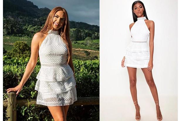 Love Island Demi white frill dress