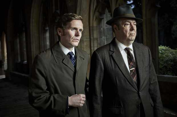 MAMMOTH SCREEN FOR ITV ENDEAVOUR  Episode 1   Pictured: SHAUN EVANS as Endeavour and ROGER ALLAM as Fred Thursday.  This image is the copyright of ITV and may only be used in relation to Endeavour.