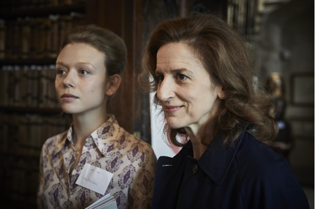 Episode one guest star Naomi Battrick as Dr Naomi Benford, alongside Abigail Thaw who plays Dorothea Frazil