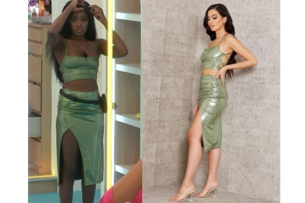 Love Island Leanne green two piece outfit