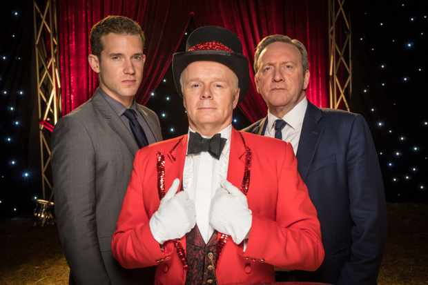 MIDSOMER MURDERS  SEND IN THE CLOWNS  Pictured: NEIL DUDGEON as DCI Barnaby,NICK HENDRIX as DS Winter and JASON WATKINS as Joe Ferabbee.  This image is the copyright of ITV and may only be used in relation to MIDSOMER MURDERS.