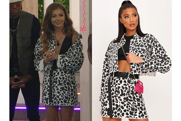 Love Island Natalia white and black leopard denim jacket and skirt