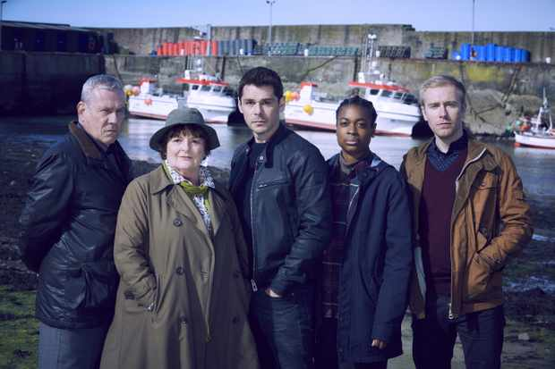 SILVERPRINT PRODUCTIONS FOR  ITV  VERA SERIES 10  EPISODE 1  Pictured: BRENDA BLETHYN as Vera,JON MORRISON as DC Kenny Lockhart,RILEY JONES as PC Mark Edwards,KENNY DOUGHTY as DS Aiden Healy and IBIBNABO JACK as DC Jac Williams.    This image is the copyright of ITV and is only to be used in relation to Vera on ITV.