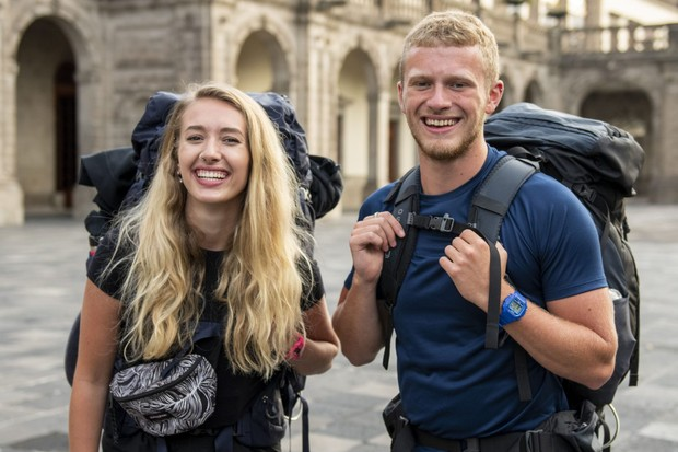 Lizzie and Dom Slater (siblings) being filmed for the second season of the BBC reality show Race Across the World. Launch day in Chapultepec Park in Mexico City. Mexico