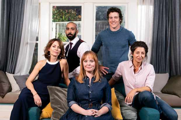 Programme Name: Five Bedrooms - TX: n/a - Episode: Five Bedrooms - generics (No. n/a) - Picture Shows:  Liz (KAT STEWART), Harry (ROY JOSEPH), Ainsley (KATIE ROBERTSON), Ben (STEPHEN PEACOCKE), Heather (DORIS YOUNANE) - (C) Hoodlum Active Pty Ltd and Screen Australia - Photographer: Sarah Enticknap
