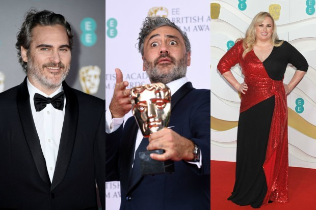 Joaquin Phoenix, Taika Waititi and Rebel Wilson at the 2020 BAFTAs (Getty)