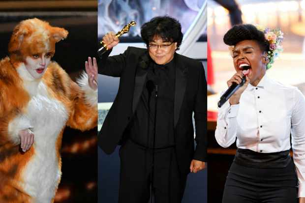 Rebel Wilson, Bong Joon-ho and Janelle Monae at the Oscars (Getty)