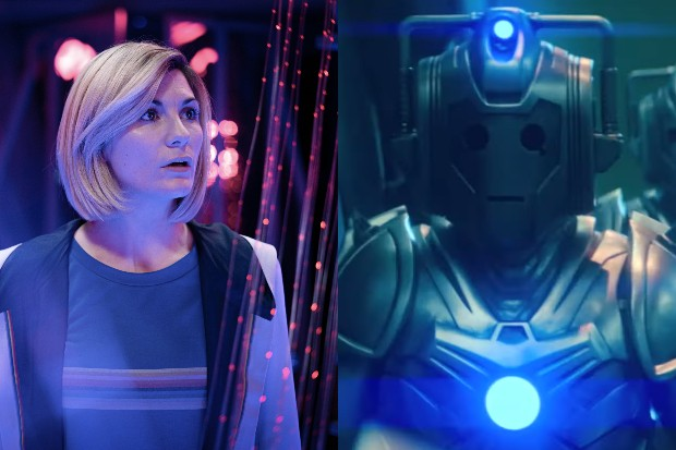 Jodie Whittaker's Doctor and a new-look Cyberman in Doctor Who (BBC)