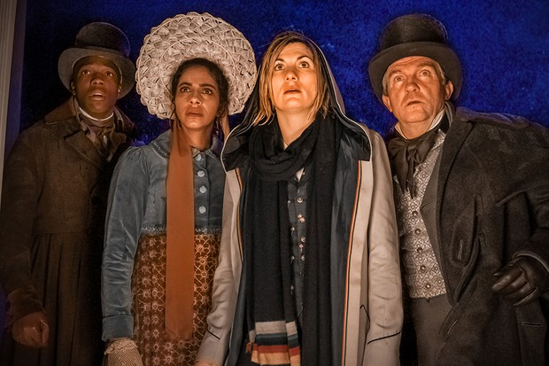 Tosin Cole, Mandip Gill, Jodie Whittaker and Bradley Walsh in Doctor Who (BBC)