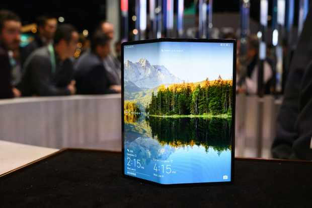 The Huawei Mate X foldable smartphone is displayed January 8, 2020 at the 2020 Consumer Electronics Show (CES) in Las Vegas, Nevada. (Photo by Robyn Beck / AFP) (Photo by ROBYN BECK/AFP via Getty Images)