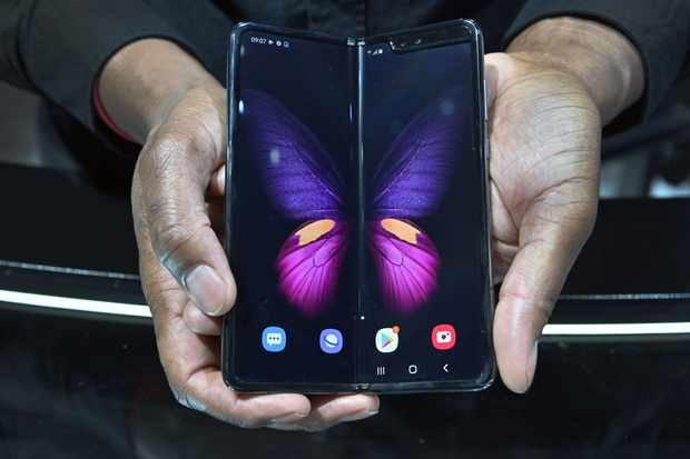 LAS VEGAS, NEVADA - JANUARY 08:  The Galaxy Fold 5G is displayed at the Samsung booth during CES 2020 at the Las Vegas Convention Center on January 8, 2020 in Las Vegas, Nevada. CES, the world's largest annual consumer technology trade show, runs through January 10 and features about 4,500 exhibitors showing off their latest products and services to more than 170,000 attendees. (Photo by David Becker/Getty Images)
