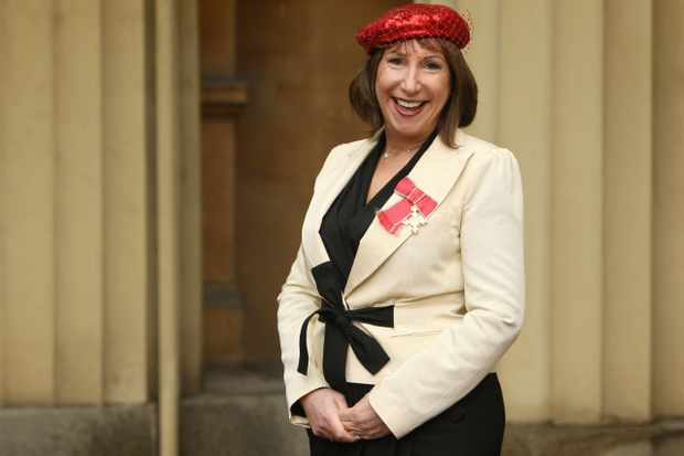 LONDON, ENGLAND - FEBRUARY 16: Leading TV writer Kay Mellor wears her OBE at Buckingham Palace following the investiture ceremony at Buckingham Palace on February 16, 2010 in London, England. Mellor, who was behind hit series such as Band Of Gold and Fat Friends, received her award from the Prince of Wales. (Photo by Dominic Lipinski - WPA Pool / Getty Images)