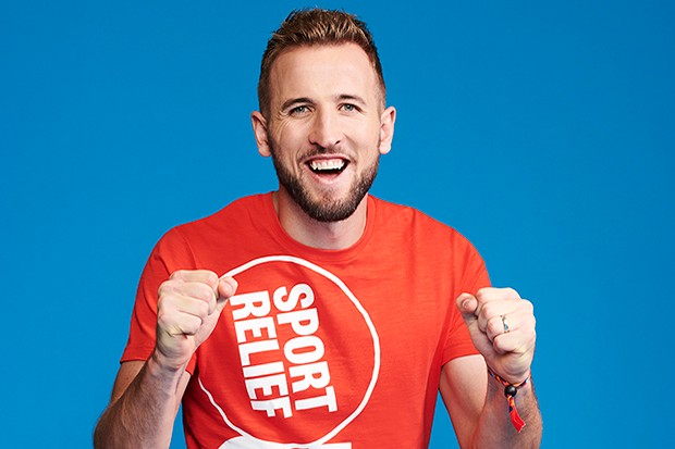 Harry Kane poses in the studio, in London, wearing a Sport Relief 2020 'It's Game On' T-Shirt for the 2020 Sport Relief campaign. (Photo by Philip Haynes/Comic Relief)