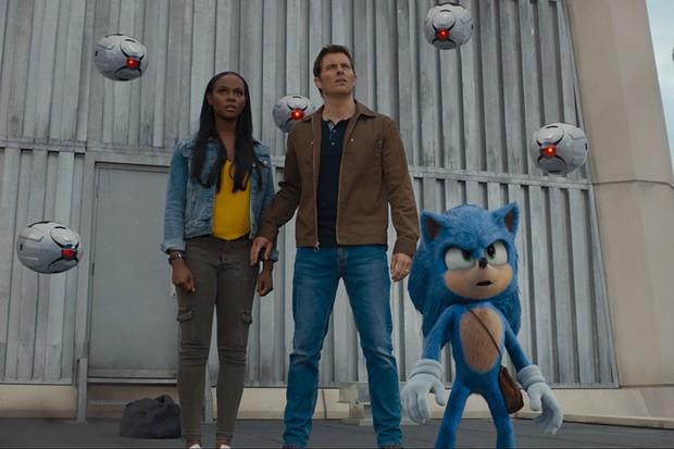 Tika Sumpter, James Marsden, and Sonic (Ben Schwartz) in SONIC THE HEDGEHOG