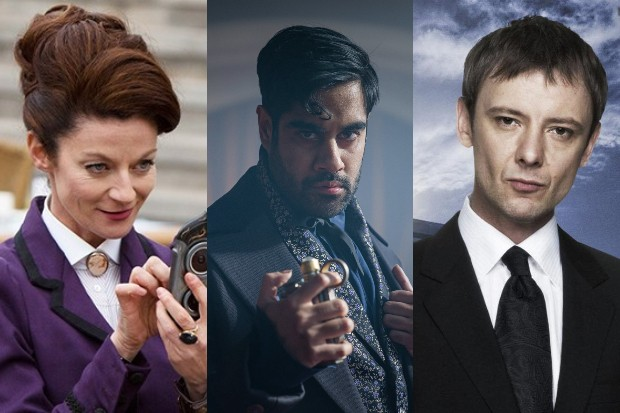 Michelle Gomez, Sacha Dhawan and John Simm as the Master in Doctor Who (BBC)