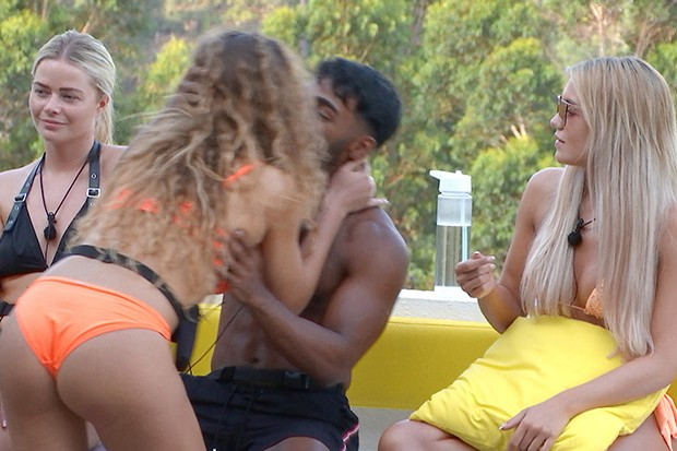 From ITV Studios  Love Island: SR6: Ep24 on ITV2  Pictured: Eva kisses Nas during the Raunchy Races challenge.  This photograph is (C) ITV Plc and can only be reproduced for editorial purposes directly in connection with the programme or event mentioned above, or ITV plc. Once made available by ITV plc Picture Desk, this photograph can be reproduced once only up until the transmission [TX] date and no reproduction fee will be charged. Any subsequent usage may incur a fee. This photograph must not be manipulated [excluding basic cropping] in a manner which alters the visual appearance of the person photographed deemed detrimental or inappropriate by ITV plc Picture Desk.  This photograph must not be syndicated to any other company, publication or website, or permanently archived, without the express written permission of ITV Picture Desk. Full Terms and conditions are available on the website www.itv.com/presscentre/itvpictures/terms  For further information please contact: james.hilder@itv.com / 0207 157 3052