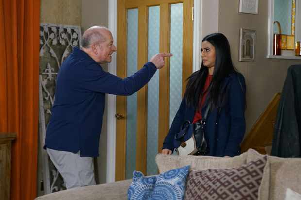 FROM ITV  STRICT EMBARGO - No Use Before Tuesday 24th March 2020  Coronation Street - Ep 10043  Wednesday 1st April 2020  Remembering that Geoff Metcalfe [IAN BARTHOLOMEW] said he booked the only five star hotel in the area, Alya Nazir [SAIR KHAN] does some digging before confronting Geoff about his fictitious hotel booking and fake heartscare. When Alya reveals that she's been to the police, Geoff loses his temper and threatens her. Arriving home from the shops (Geoff has had Yasmeen on a timer), Yasmeen's Metcalfe [SHELLEY KING] horrified and orders Geoff off Alya. Geoff assures Yasmeen he'd never lie to her.  Picture contact - David.crook@itv.com  Photographer - Danielle Baguley  This photograph is (C) ITV Plc and can only be reproduced for editorial purposes directly in connection with the programme or event mentioned above, or ITV plc. Once made available by ITV plc Picture Desk, this photograph can be reproduced once only up until the transmission [TX] date and no reproduction fee will be charged. Any subsequent usage may incur a fee. This photograph must not be manipulated [excluding basic cropping] in a manner which alters the visual appearance of the person photographed deemed detrimental or inappropriate by ITV plc Picture Desk. This photograph must not be syndicated to any other company, publication or website, or permanently archived, without the express written permission of ITV Picture Desk. Full Terms and conditions are available on  www.itv.com/presscentre/itvpictures/terms
