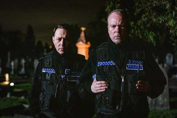 WARNING: Embargoed for publication until 00:00:01 on 28/01/2020 - Programme Name: Inside No. 9 Series 5 - TX: 09/03/2020 - Episode: The Stakeout (No. 6) - Picture Shows: **STRICTLY EMBARGOED UNTIL 28/01/2020 00:00:01** PCSO Varney (REECE SHEARSMITH), PC Thompson (STEVE PEMBERTON) - (C) BBC - Photographer: Sophie Mutevelian