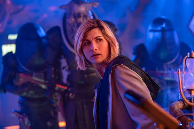 WARNING: Embargoed for publication until 20:00:01 on 02/03/2020 - Programme Name: Doctor Who Series 12 - TX: 01/03/2020 - Episode: n/a (No. 10) - Picture Shows: ++POST TX++ **STRICTLY EMBARGOED UNTIL 02/03/2020 20:00:01** Judoon Captain Pol-Kon-Don, The Doctor (JODIE WHITTAKER) - (C) BBC  - Photographer: James Pardon