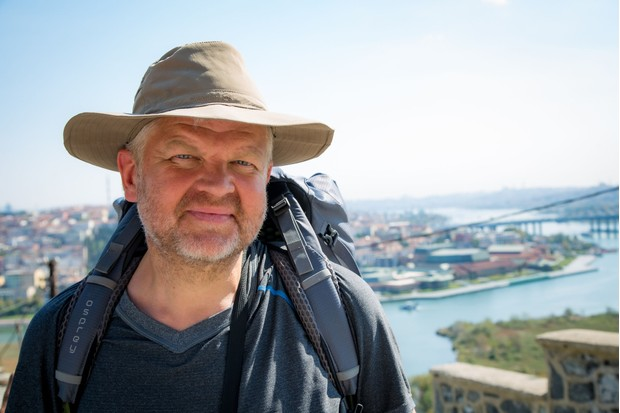 Programme Name: Pilgrimage: The Road to Istanbul - TX: n/a - Episode: Pilgrimage: The Road to Istanbul - ep 3 (No. 3) - Picture Shows:  Adrian Chiles - (C) CTVC - Photographer: Oliver Rose