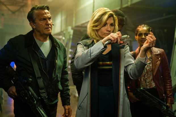 Bradley Walsh as Graham, Jodie Whittaker as The Doctor, Tosin Cole as Ryan, Mandip Gill as Yaz - Doctor Who _ Season 12, Episode 10 - Photo Credit: James Pardon/BBC Studios/BBC America