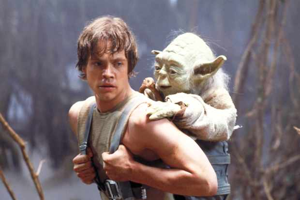 Star Wars Episode V The Empire Strikes Back, starring Mark Hamill as Luke Skywalker and Frank Oz as Yoda (Sky)