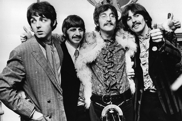 19th May 1967:  The Beatles celebrate the completion of their new album, 'Sgt Pepper's Lonely Hearts Club Band', at a press conference held at the west London home of their manager Brian Epstein. The LP is released on June 1st.  (Photo by John Pratt/Keystone/Getty Images)