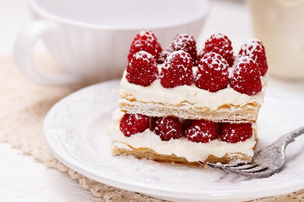 Appetizing french millefeuilles raspberry dessert ready to eat