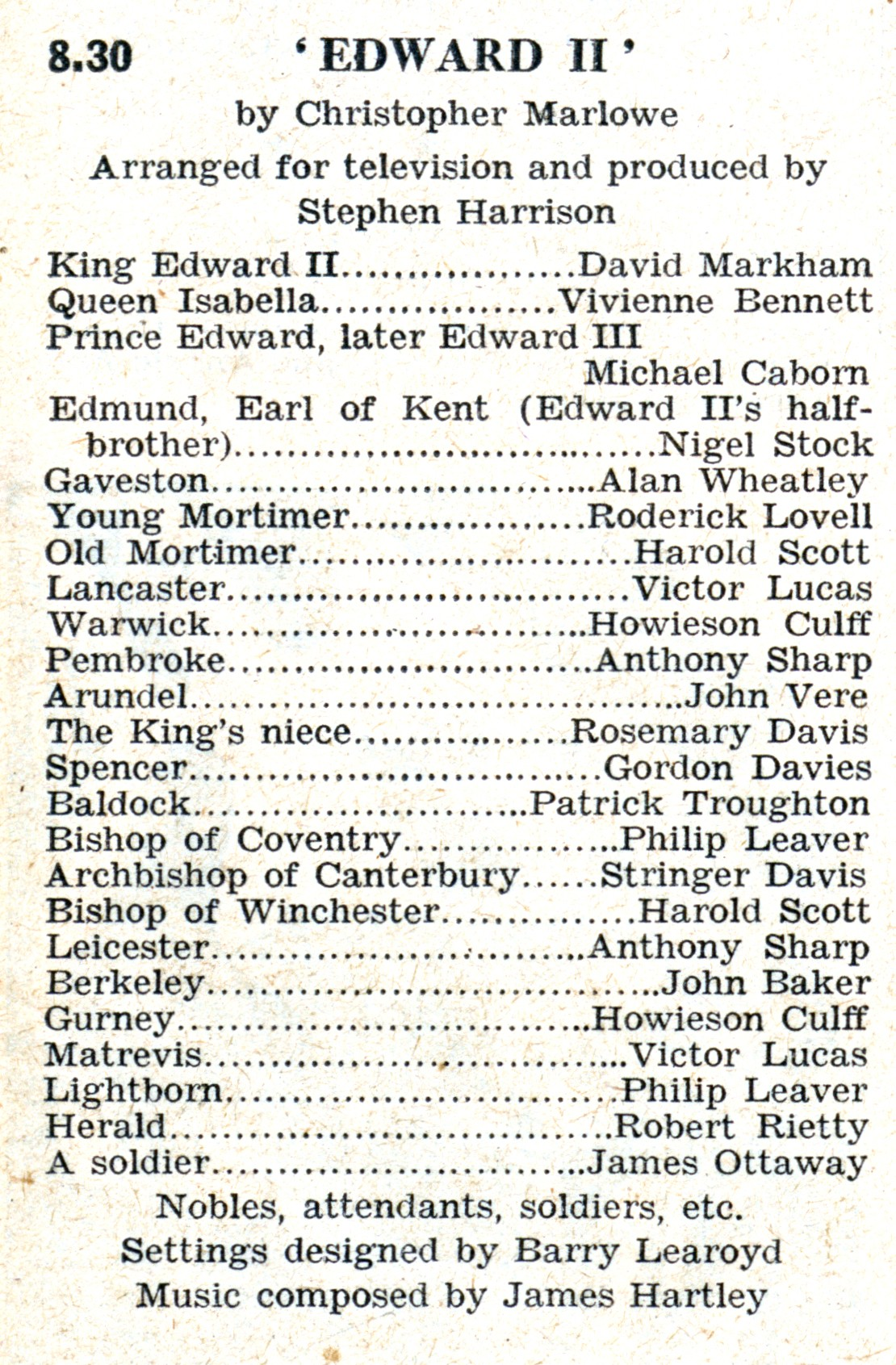 RT 1947 Troughton Edward II first TV credit 30 Oct