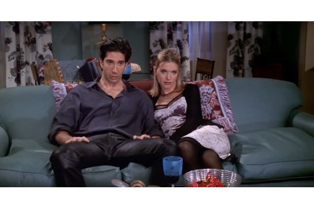 Ross and Elizabeth on the sofa