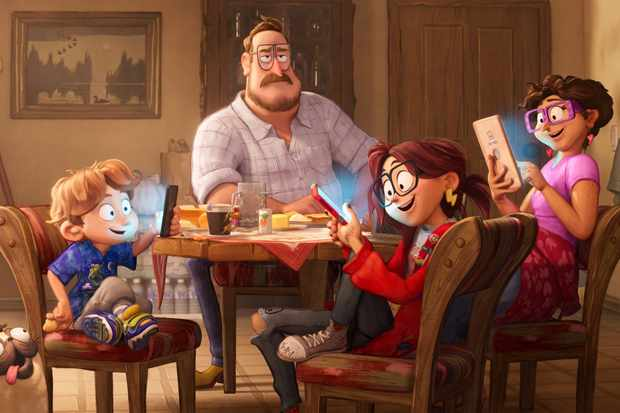 The Mitchell Family: Aaron (Michael Rianda), Rick (Danny McBride), Katie (Abbi Jacobson) and Linda (Maya Rudolph) with their dog Monchi in Columbia Pictures and Sony Pictures Animation's CONNECTED.