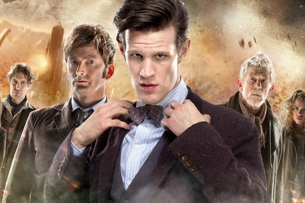 Paul McGann, David Tennant, Matt Smith, and John Hurt in a Day of the Doctor poster (BBC)