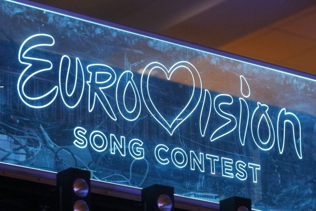 KIEV, UKRAINE - FEBRUARY 22, 2020: he Eurovision Song Contest logo is seen on a screen during the 2020 Eurovision Song Contest (ESC) national selection show in Kiev. Ukrainian band Go_A with song Solovey will represent Ukraine at the 2020 Eurovision Song Contest (ESC) in Netherlands. The 65th anniversary Eurovision song contest will be held in Rotterdam (Netherlands) from May 12 to May 16, 2020. Ukraine, which missed the competition last year, intends to return to participation in 2020.- PHOTOGRAPH BY Pavlo Gonchar / Echoes Wire/ Barcroft Studios / Future Publishing (Photo credit should read Pavlo Gonchar /  Echoes Wire/Barcroft Media via Getty Images)