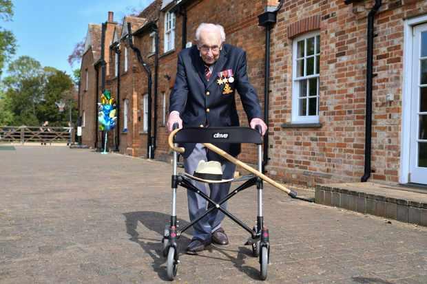 Captain Tom Moore walking