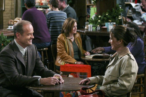 "FRASIER -- ""High Holidays"" Episode 11 -- Pictured: (l-r) Kelsey Grammer as Dr. Frasier Crane, Peri Gilpin as Roz Doyle -- (Photo by: NBCU Photo Bank/NBCUniversal via Getty Images via Getty Images)"