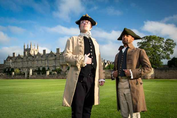 Programme Name: Monkman & Seagull's Genius Adventures - TX: n/a - Episode: Monkman & Seagull's Genius Adventures - ep 1 (No. 1) - Picture Shows: at Merton College Field, Oxford - the site of James Sadler's 1784 hot air balloon flight. Eric Monkman, Bobby Seagull - (C) Label1 Television - Photographer: Ryan McNamara