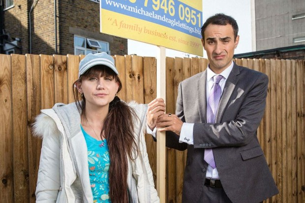 Natasia and Jamie Demetriou in Stath Lets Flats (Channel 4)