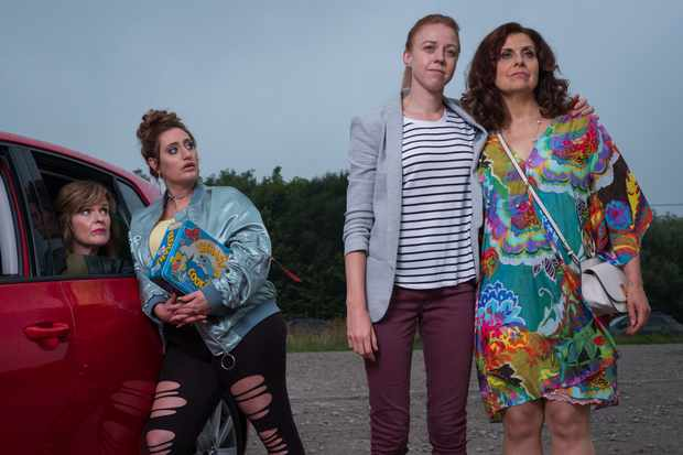 Programme Name: The Other One - TX: n/a - Episode: n/a (No. 1) - Picture Shows:  Marilyn (SIOBHAN FINNERAN), Cat (LAUREN SOCHA), Cathy (ELLIE WHITE), Tess (REBECCA FRONT) - (C) Tiger Aspect Productions - Photographer: Matt Squires
