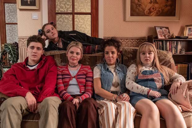 Dylan (James Maguire), Erin (Saoirse Monica-Jackson), Michelle (Jamie-Lee O'Donnell), Clare (Nicola Coughlan) in Derry Girls