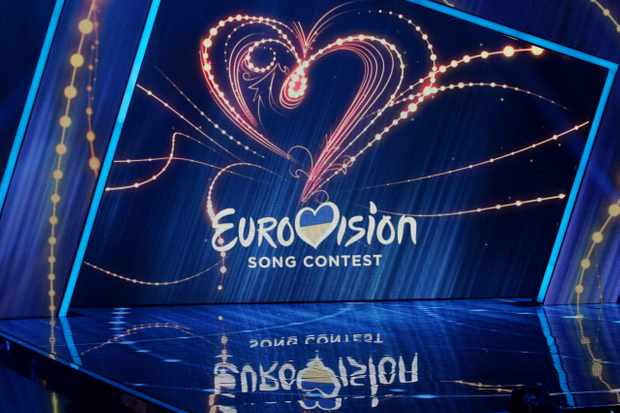 The logo of Eurovision Song Contest is displayed during the 2019  Eurovision Song Contest (ESC) national selection show, in Kiev, Ukraine, on 23 February, 2019. Ukrainian singer MARUV will represent Ukraine at the Eurovision Song Contest (ESC) that consists of two semi-finals, to be held on 14 and 16 May, and a grand final taking place at the Expo Tel Aviv in Tel Aviv, Israel, on 18 May 2019.   (Photo by STR/NurPhoto via Getty Images)