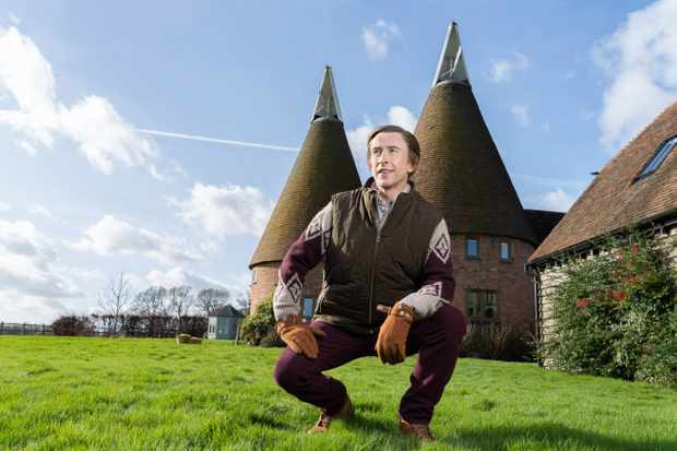Steve Coogan shooting Alan Partridge from the Oast house